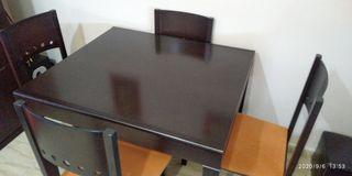 mesa de madera extensible+sillas