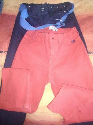 pantalones azul marino y rojo talla 10