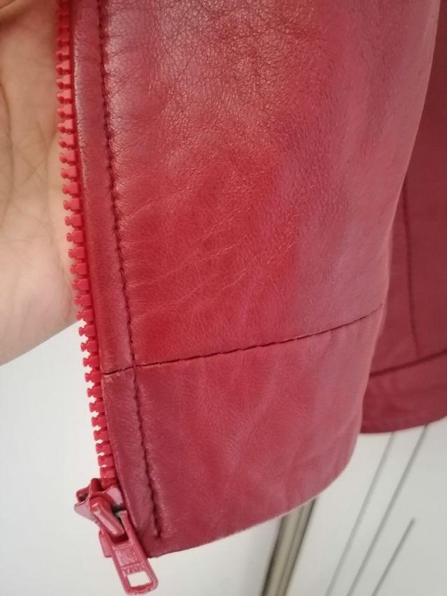Chaqueta roja polipiel de diseño.