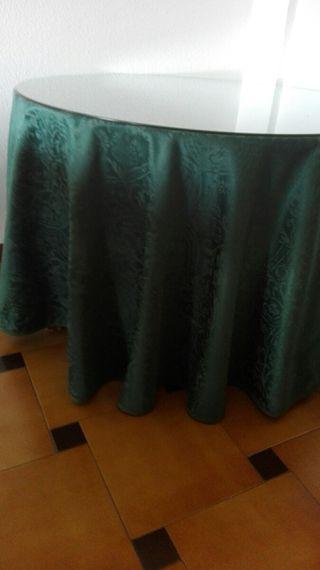 Mesa camilla, cristal y falda camilla