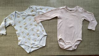 Lote de 2 bodys bebé m/larga T:6-9 m.Ropa bebé