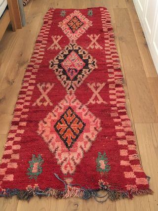 Alfombra lana muy antigua bereber 0,85x2,50 m