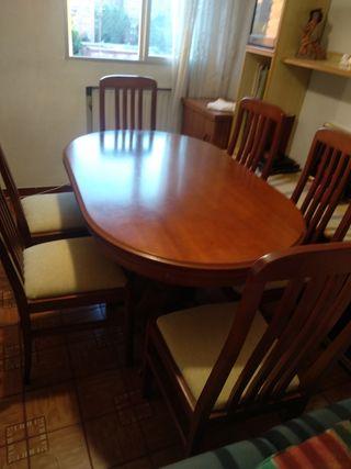 mesa salon extensible con seis sillas