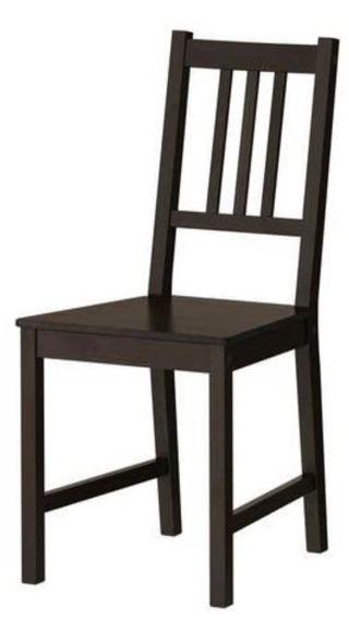 Silla IKEA - STEFAN negro-marrón con cojín JUSTINA