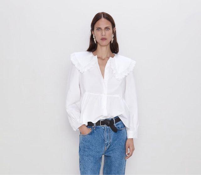 Blusa popelin cuello bobo Zara