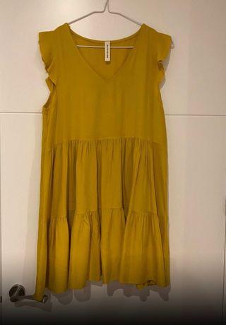 Vestido mostaza sin mangas Talla 36-38