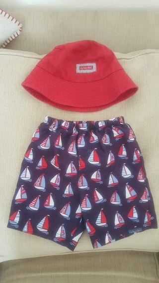 Jojo Maman Bebe boy swim shorts and matching hat