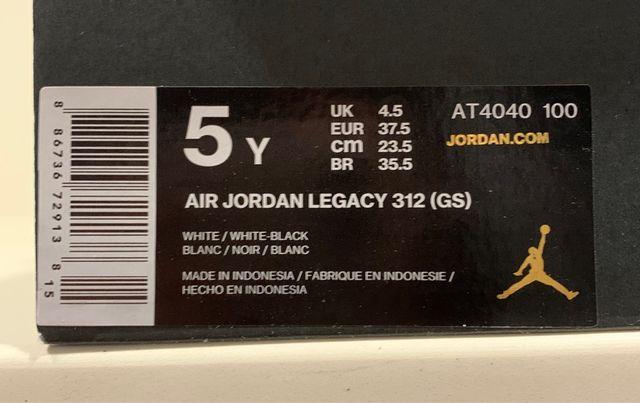 Air Jordan Legacy 312 talla 37,5 (5Y)