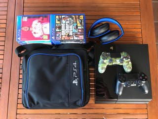 PS4 + 2 mandos + cascos. Regalo la funda.