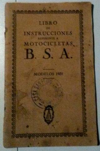 MANUAL BSA de 1931 ESPAÑOL. UNICO y ORIGINAL