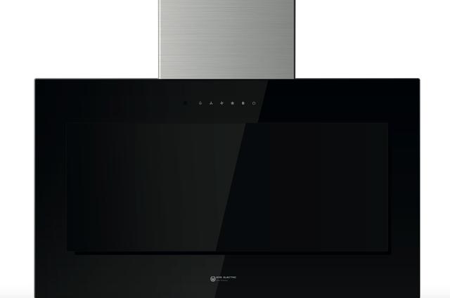 Campana de pared inclinada 90 cm Cristal Negro
