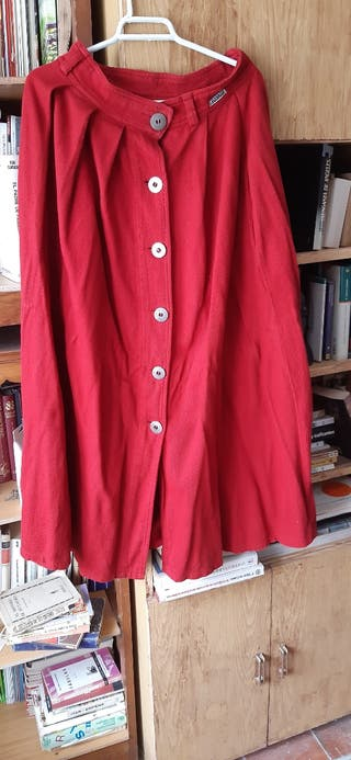 Falda larga de micropana Talla 42. Rojo
