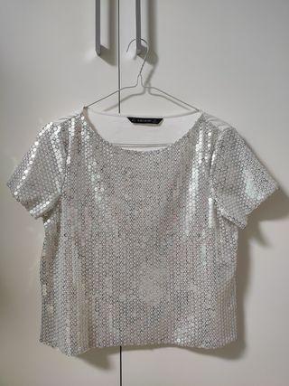 Top lentejuelas blanco Zara | talla S