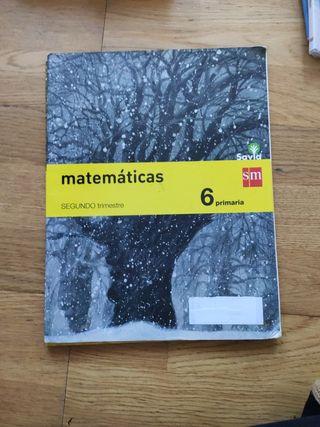 matemáticas 6 primaria segundo trimestre Savia SM