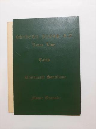 Antigua Carta- Menú de la naviera Aznar S.A