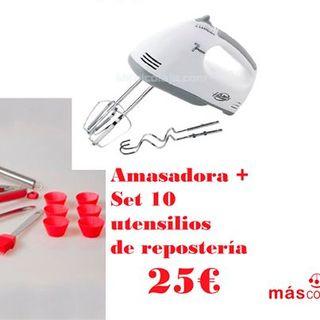 Amasadora 150W + Set 10 utensilios de repostería