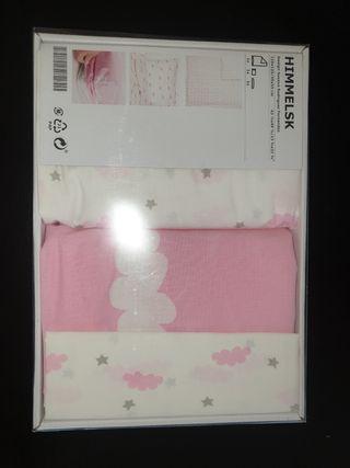 Sabanas de cuna nubes rosas Ikea sin abrir