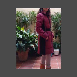 Abrigo plumas MANGO color vino Talla S
