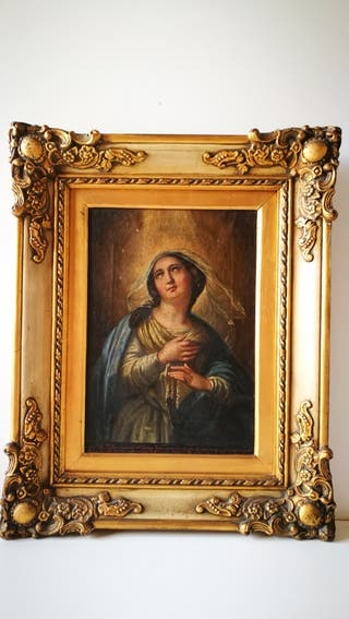 Cuadro religioso siglo XVII pintura al óleo sobre