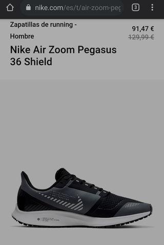 Zapatillas Nike Pegasus 36 Shield TALLA 43 de segunda mano ...