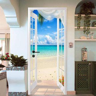 Pegatina puerta 3D vista playa PVC adhesivo