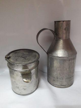 Antigua aceitera artesanía hojalata jarra vintage