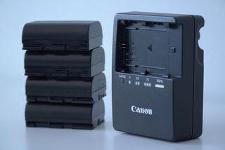 Cargador Canon LP-E6 + 4 baterías