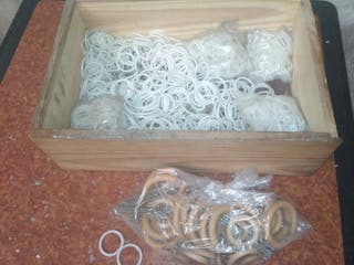 anillas para cortinas plástico y madera