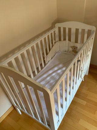 Cuna bebé 2 posiciones madera blanca