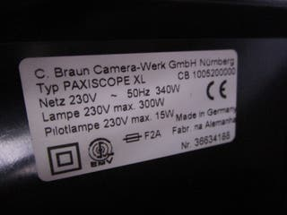 Proyector de transparencias Braun paxiscope XL