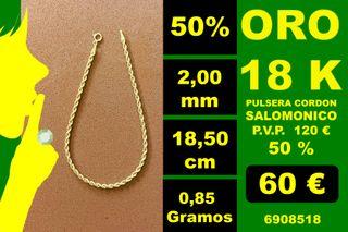18K Pulsera Cordon 2,00 mm 18,50 cm 18 Kilates