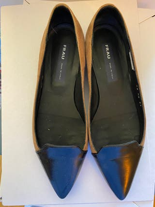 Zapatos bicolore,cueto negro y ante beige