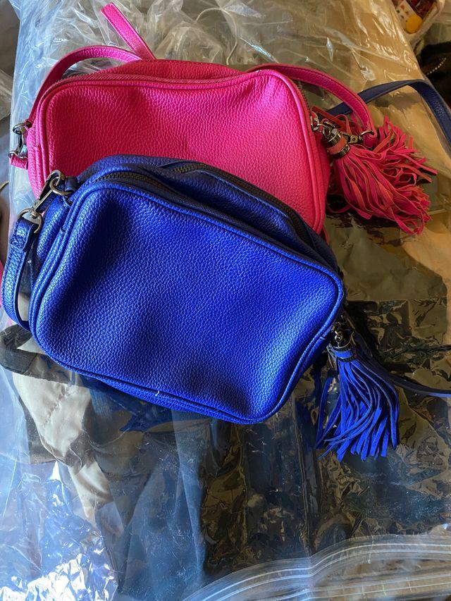 2 Bolsos bandolera Mango colores azulon y fuschia