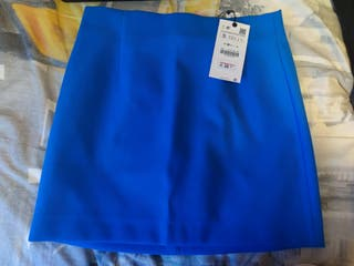 Falda Azul Zara
