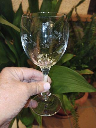 Copas vino blanco de bohemia talladas a mano