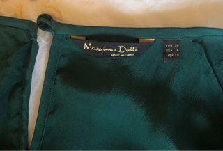 Blusa seda verde Massimo Dutti