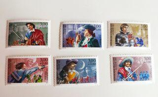 Francia 1997 6 sellos nuevos Mosqueteros historia