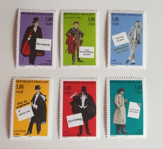 Francia 1996 6 sellos nuevos personajes policiacos
