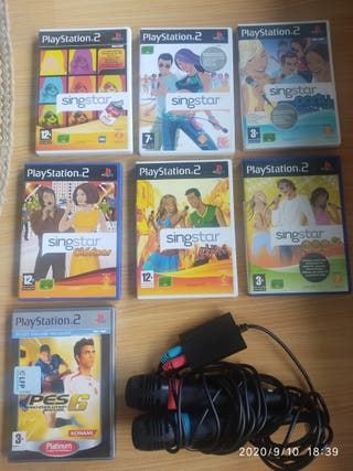 6 Juegos Singstar con micros Play2 y PES6 de regal
