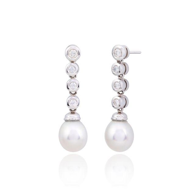 Pendientes perlas oro blanco
