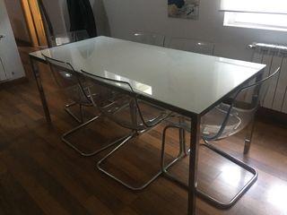 Mesa salón IKEA y 6 sillas