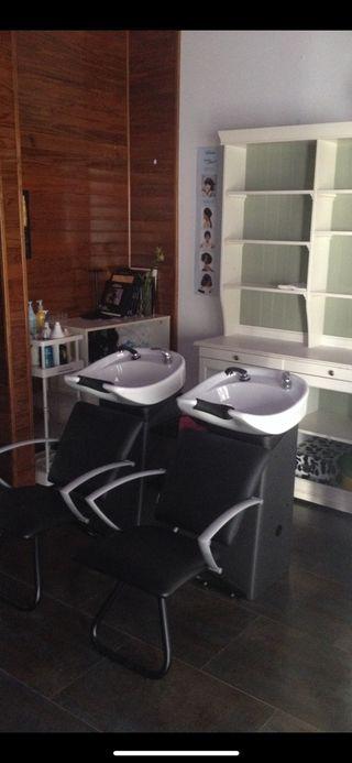 Lavacabezas doble con sillon para peluquería
