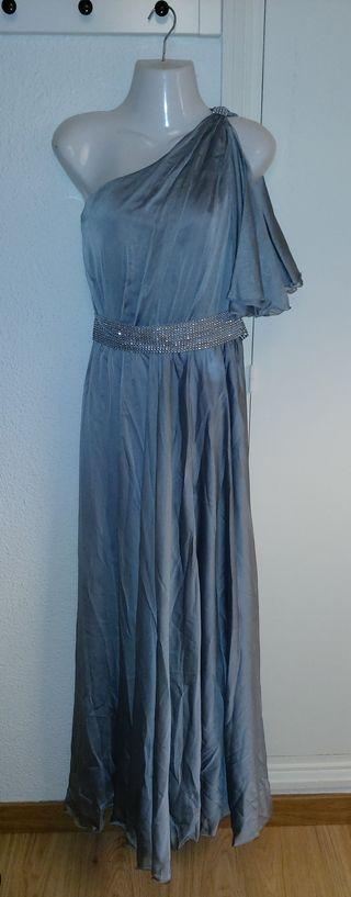 Vestido largo con escote asimétrico estilo griego