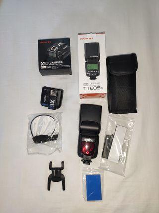Flash Godox TT685s + disparador Godox X1ts