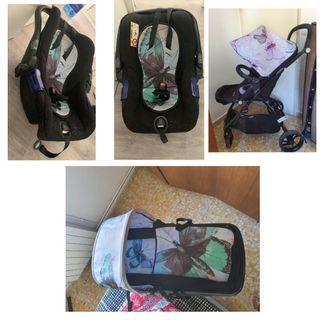 Pack de coche de bebe (3 en 1) y cómoda con bañera