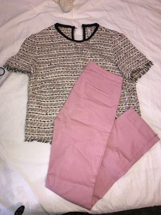 Conjunto blusa estilo chanel y pantalon rosa