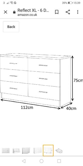 White chest of drawers (NEW)