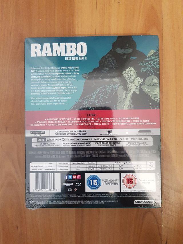Rambo Part 2 Blu Ray STEELBOOK 4K ULTRA HD