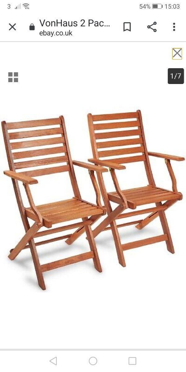 2x wooden garden chairs (NEW)