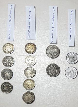 Modedas PTA Franco de 1947, 1953 y 1975